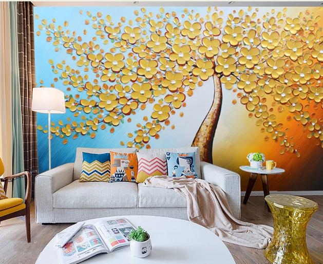 3D Gold Tree 4047 Wallpaper Murals Wall Print Wallpaper Mural AJ WALL UK Lemon