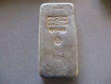 Poured 100 oz Silver Bar Sheffield Smelting England - Engelhard French CMP Stamp