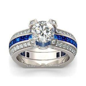 Luxury Jewelry Women Sapphire Cz 925 Silver 2-in-1 Wedding Band Ring Set Gift