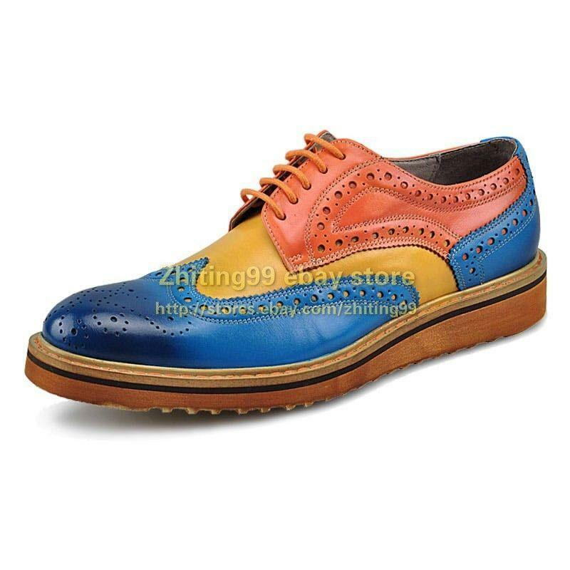 Uomo Dress Multi Color Leisure Brogue Wing Tip Carved Flat Lace Up British Shoes