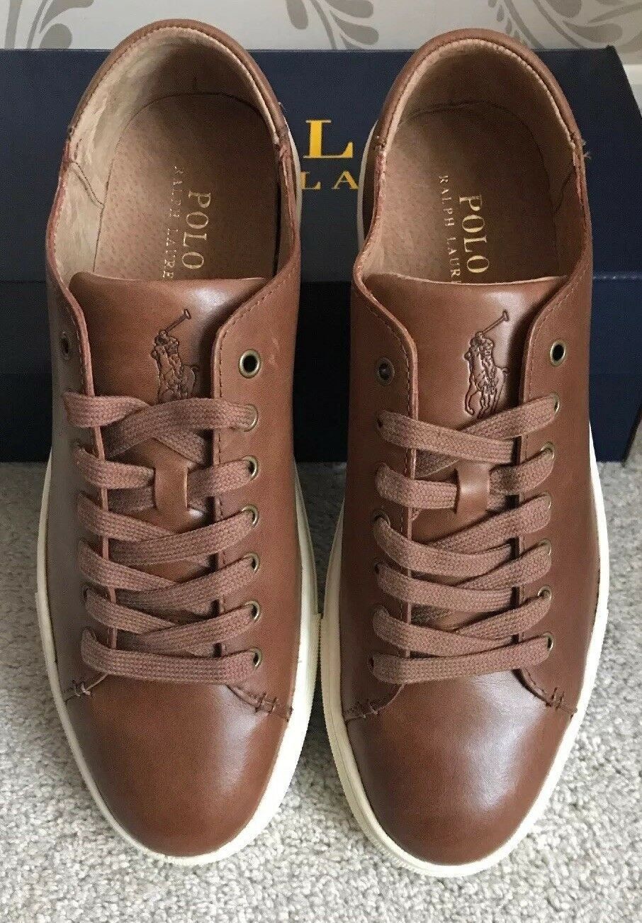 BNIB MENS POLO RALPH LAUREN JERMAIN LEATHER SHOES TRAINERS SNEAKERS SIZE