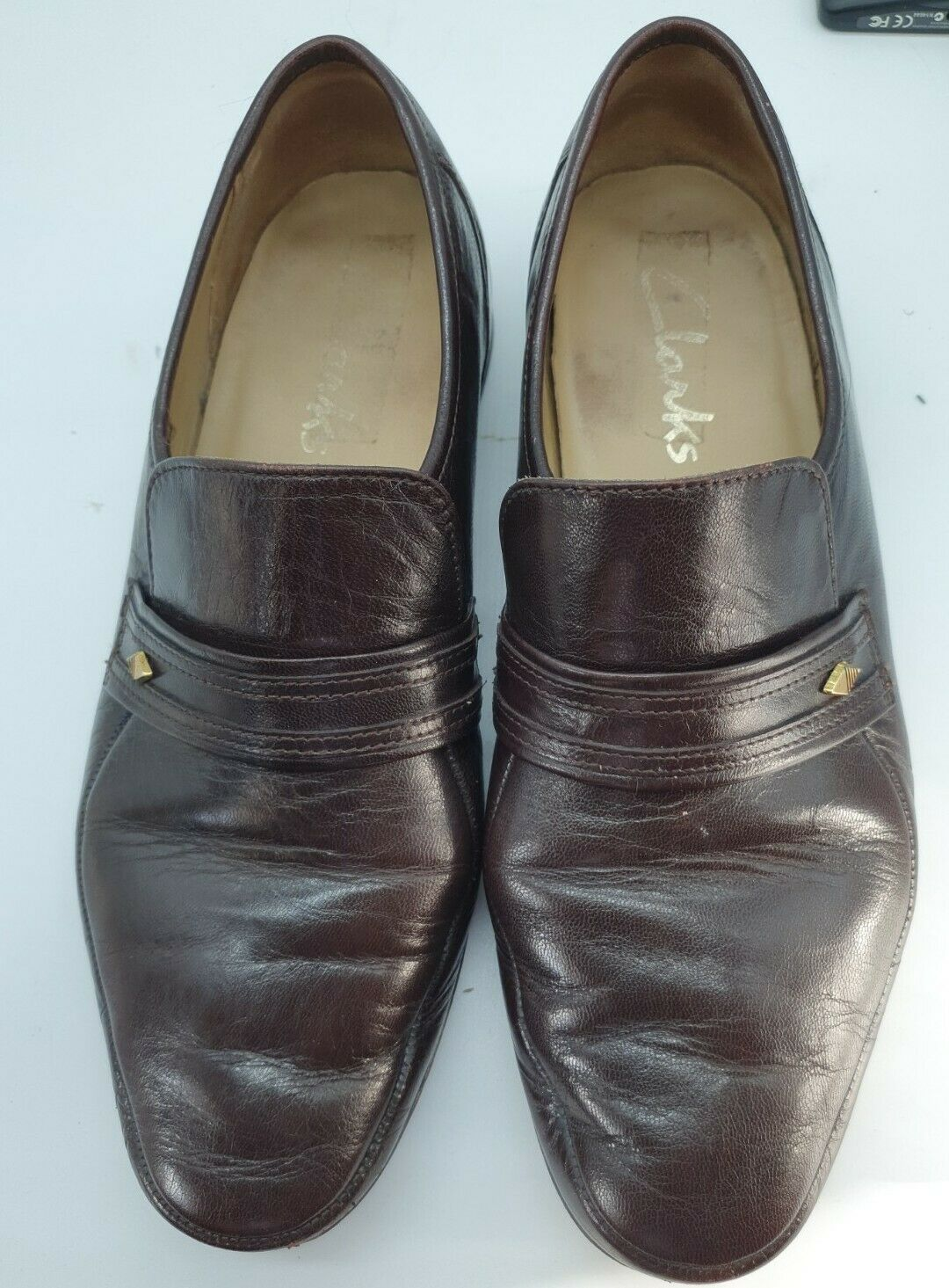 CLARKS MENS DARK BROWN LEATHER SLIP-ON LOAFERS SHOES SIZE 9 Vintage