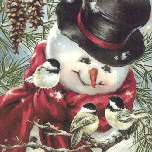 4 Lunch Paper Napkins for Decoupage Party Table Craft  FREDDY THE SNOWMAN