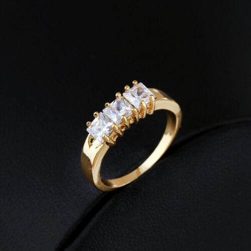 Simple Femmes 18K Jaune Plaqué Or 3-SQUARE Crystal CZ Band Ring Taille 6 7 8 9