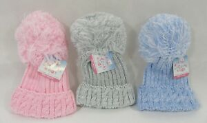 4dcfd5e85e0 Baby Boys Girls Pink Grey Blue Cable Knit Pom Pom Knitted Winter ...