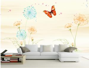 3D Butterfly Flowers 7 Wall Paper Murals Wall Print Wall Wallpaper Mural AU Kyra