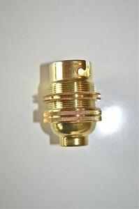 PAIR OF BRASS BAYONET BULB HOLDER LAMP HOLDER EARTHED C//W SHADE RING 1//2 INCH L3