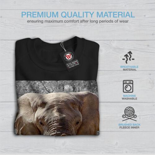 Wellcoda Elefante ANIMALE SELVAGGIO arte da Donna Felpa enorme Casual Pullover Maglione