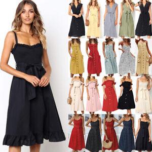 Details Lang Midi Sommerkleid Damen Strandkleid Kleider Zu Kleid Träger Party Knielang Boho 4A5RcLq3jS