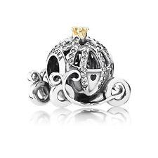 Authentic Pandora Silver 14K Gold Disney Cinderella Pumpkin Coach Bead 791573CZ