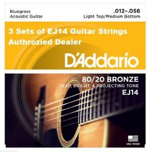 3 Sets Ej14 D'addario Haut Léger Moyen Bas Bluegrass 12-56 80/20 Bronze-afficher Le Titre D'origine Sans Retour