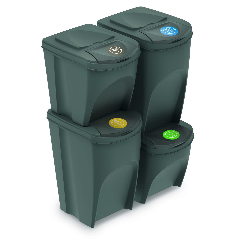 Cubos de Basura Segregación Set 2x25L 2x35L Tapas de Colores Pegatinas Reciclaje