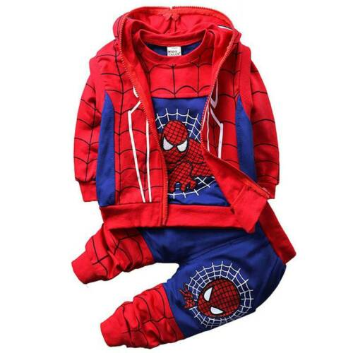 Kids Boys Spiderman Hoodies Clothes Tops Coat Long Pants Sets Outfits Tracksuit