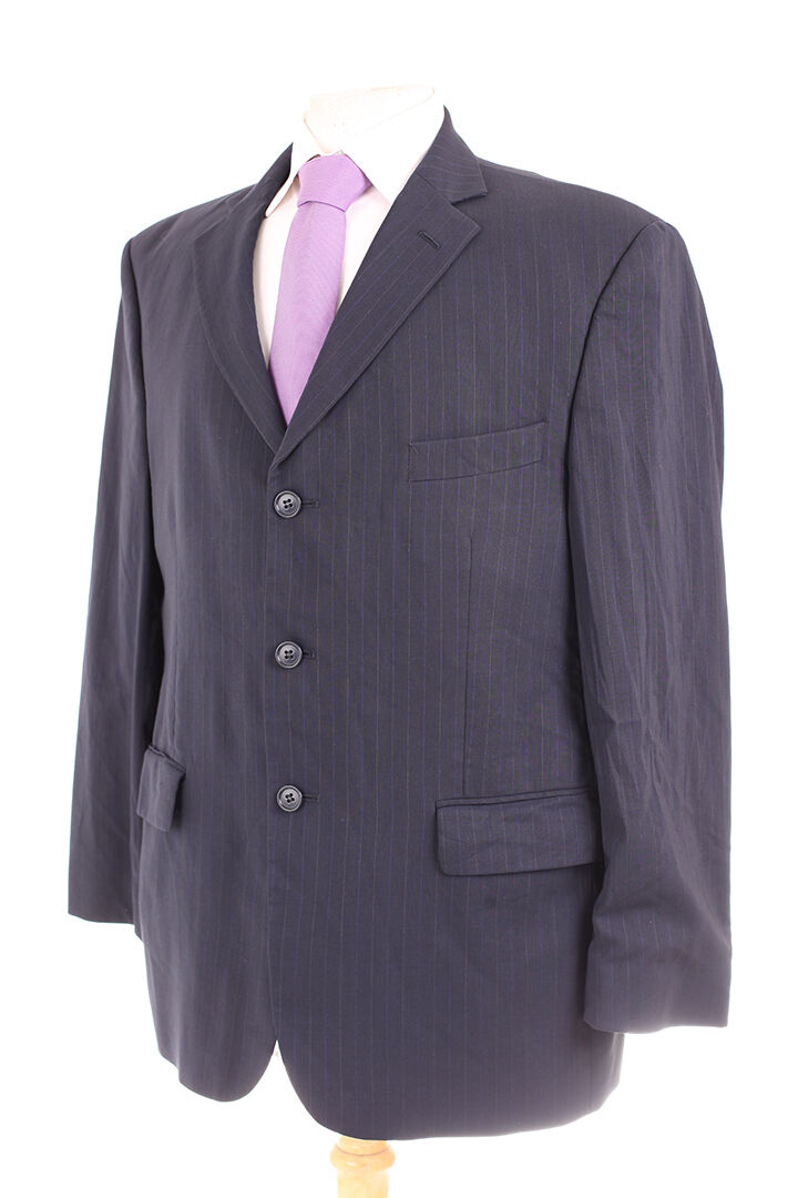 M&S TAILORING NAVY PINSTRIPE MEN'S SUIT 42S DRY-CLEANED