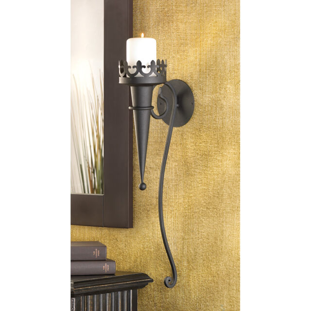 Goth 2 MEDIEVAL CASTLE BLACK IRON TORCH WALL SCONCES SET Candle Holders Lighting