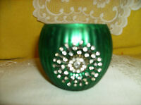 Green Crystal Starburst Medallion On Mercury Glass Style Votive Candle Holder