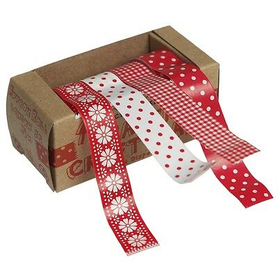 dotcomgiftshop 4 DECORATIVE RED FOLK PAPER CRAFT WASHI TAPES IN A DISPENSER BOX