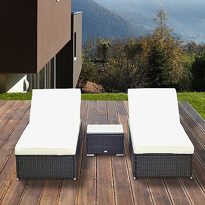 3PC Garden Rattan Sun Lounger Table Set Outdoor Recliner Wicker Patio Chaise Bed