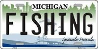 Fishing Michigan Metal Novelty License Plate