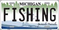 Fishing Michigan Metal Novelty License Plate
