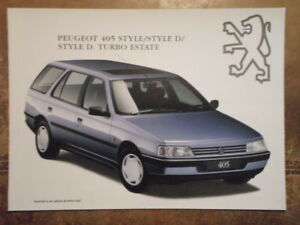 Peugeot 405 Style Estate Orig 1994 1995 Uk Mkt Sales Brochure D Turbo Ebay