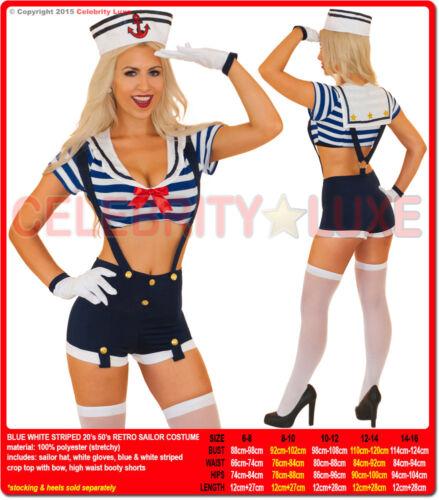 New Navy Sailor Uniform Ladies Rockabilly Pin Up Fancy Dress Costume 20s 50s 70s