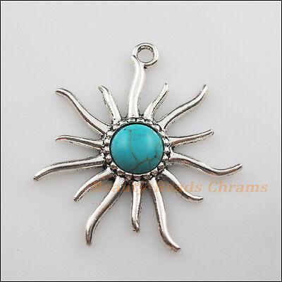 6Pcs Retro Tibetan Silver Turquoise Flower Charms Pendants Connectors 37.5x47mm