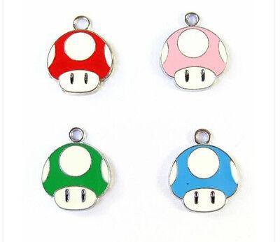 Super Mario mushrooms head  Enamel Metal Charms Jewelry Making Pendants Earrings
