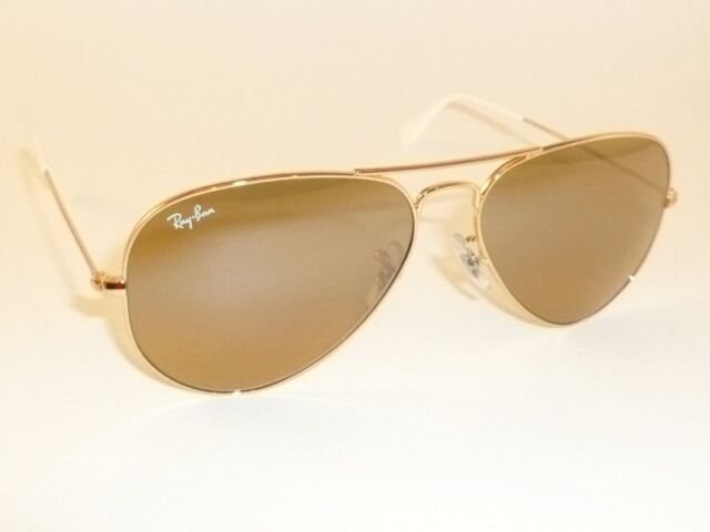 74252ab5617 ... real new ray ban aviator sunglasses gold frame rb 3025 001 3k brown  mirror lens 62mm