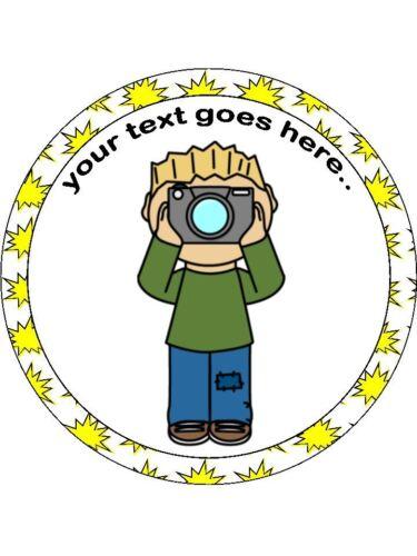 "Photographe photographie Cartoon plaquette ou givrage 7 1//2/"" Round Cake Topper"