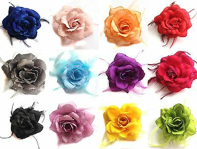 Large Wedding Bridal Rose Flower Hair Headpiece Brooch Corsage Fascinator