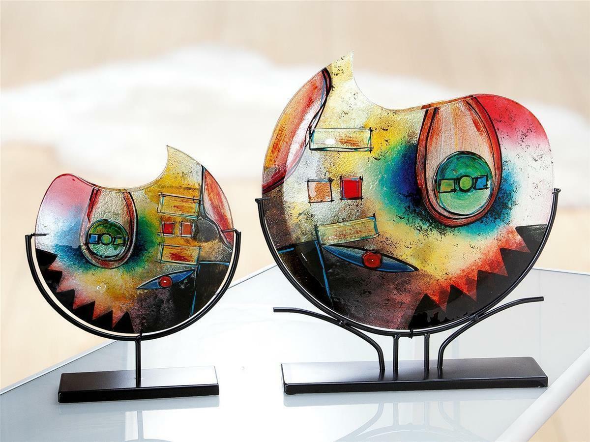 Gilde Glas Artdeko Vase Farbeconfuso rot   gelb   blau schwarzer Metall halter L