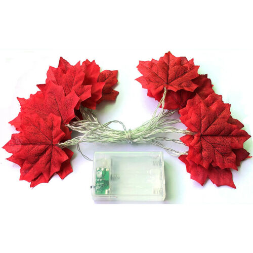 LED Fall Maple Leaves Fairy String Light Leaf Lamp Garland Party Christmas Decor
