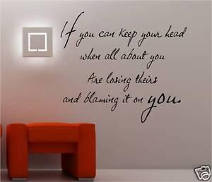 If Kipling Poem Vinyl Wall Art Sticker Quote Bedroom Ebay