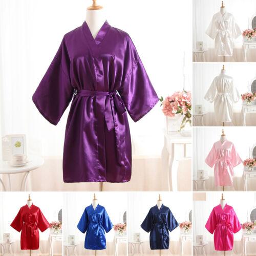 Damen Kimono Morgenmantel Nachtwäsche Hausmantel Bademantel Negligee Hochzeit DE