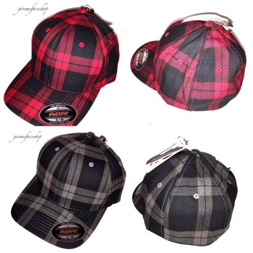 S NEW FLEXIFIT BASEBALL CAPS L M XL FLEXFIT CHECK PEAK FITTED PLAID HATS