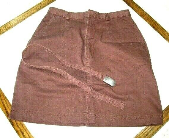 Women's BASIC EDITIONS Straight  BROWN Pencil Skirt with Belt Size 6