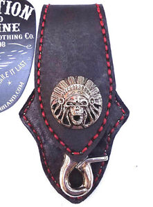 Biker-Skull-Indian-Trucker-Red-Stitch-Leather-Belt-Clip-Keychain-Key-Holder