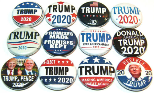 """12 DONALD TRUMP 2020 One In Buttons 1/"""" Pinbacks Pins President MAGA #KAG REELECT"""
