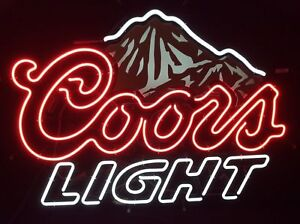 New coors light mountain beer logo neon light sign 17x14 ebay image is loading new coors light mountain beer logo neon light mozeypictures Gallery