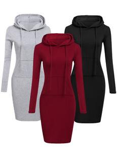 the best attitude 9e2b7 75971 Details zu Damen Pulloverkleid Hoodie Kleid Sweatshirtkleid Kapuzenkleid  Longpullover Pulli