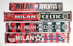 Sciarpa-AC-MILAN-JUVENTUS-Celtic-Glasgow-Atletico-Madrid-Vintage-Matchday-Sciarpe