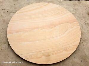 Tischplatte rund stein  Naturstein massive Tischplatte rund Sandstein matt beige/ gelb ...