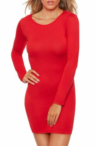 Womens Long Sleeve Stretch Bodycon Dress Ladies Plus Size Plain Short Mini Dress