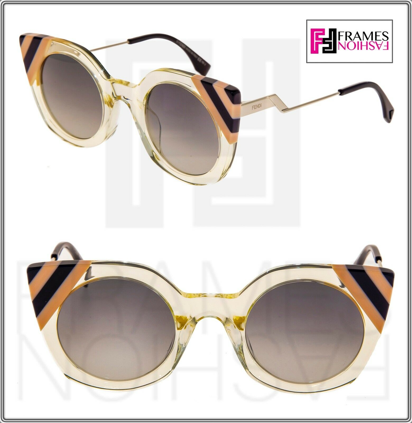 FENDI Waves 0240 FF0240 Crystal Yellow Stripe Grey Gradient Sunglasses Cat Eye
