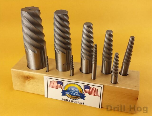 Drill Hog USA Spiral Easy Outs Set Round Screw Extractor Lifetime Warranty 9 Pc