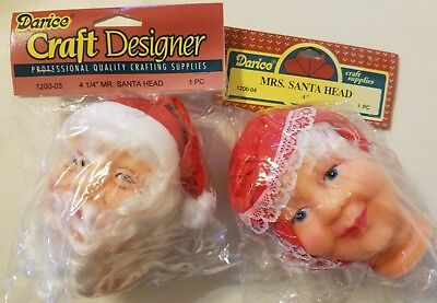 "/& Mrs Vintage Darice Mr Santa Claus Vinyl Craft Christmas Doll Heads Set 4/"""