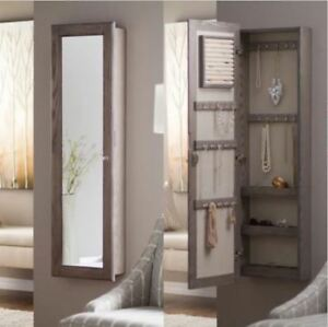 Image Is Loading Wall Jewelry Armoire Rustic Full Length Mirror Wood