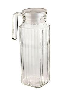 1-Litro-Cuadrado-Jarra-de-vidrio-con-tapa-ZUMO-agua-Surtir-cristaleria-Bebidas