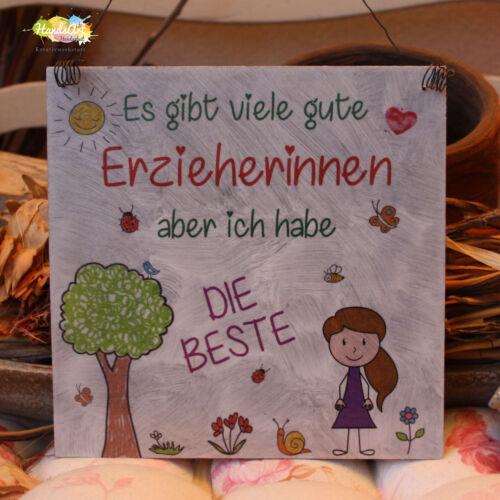 Es gibt viele Erzieherinnen ~Kindergarten Shabby Style Holzschild Geschenk
